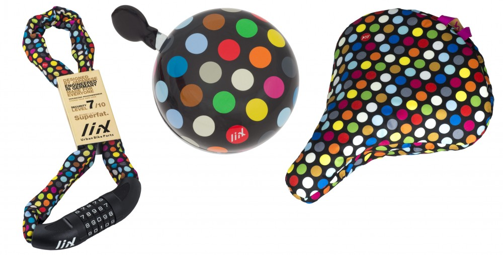 Liix Set Big Lock, Ding Dong Bell and Saddle Cover Polka Big Dots Mix Schwarz
