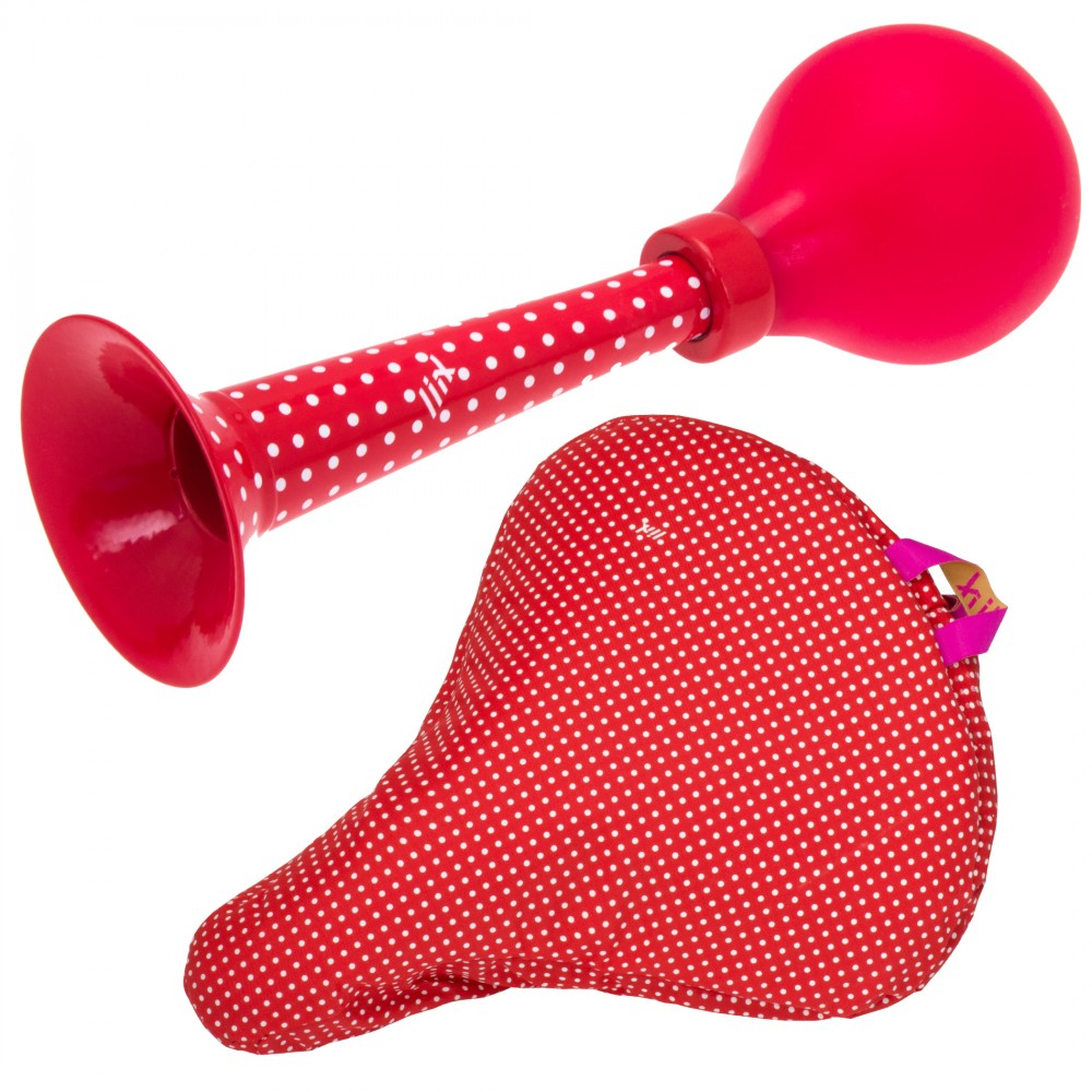Liix Set Pretty Horn and Saddle Cover Polka Dots Red